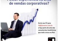 O segmento CORPORATE da JTavares Consultoria Imobiliária cresceu e está contratando EXECUTIVO DE VENDAS.