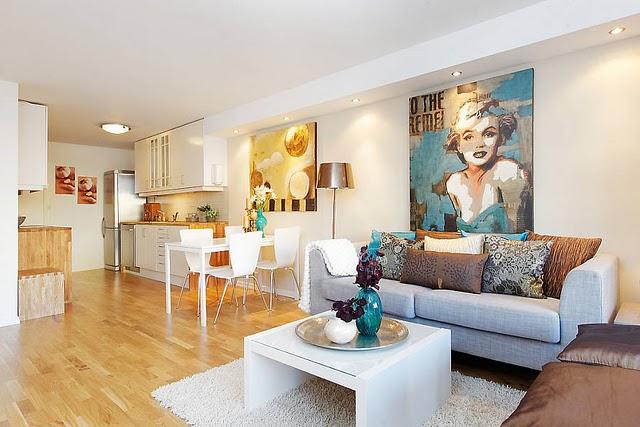 Sala De Estar Com Uma Parede Azul ~ sala de estar, jantar e cozinha estão integradas