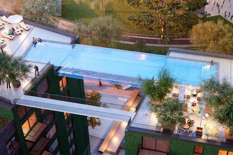 Condom nio de luxo em londres ter piscina suspensa a 35 for Piscina de 7 metros