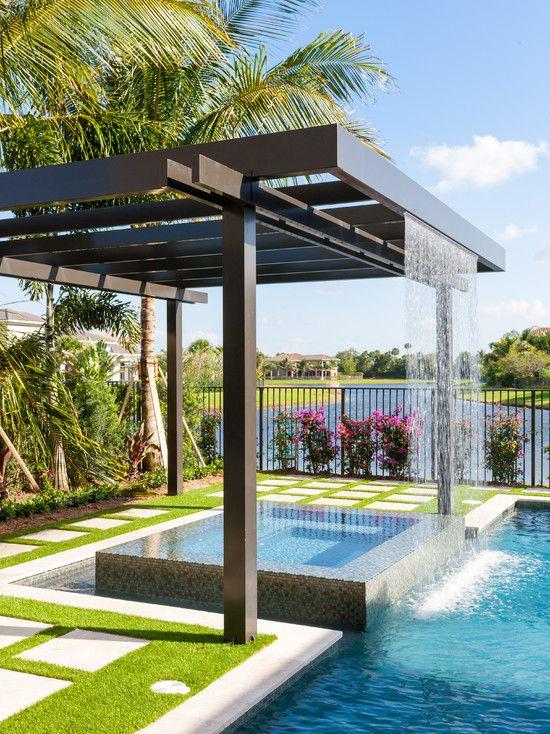 Cascatas para piscinas em diferentes projetos de ambientes for Modelos de piscinas modernas